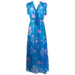 1970s Zandra Rhodes Blue and Pink Seashell Print Sleeveless Caftan Dress