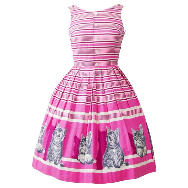 1950s Vintage Kittens Novelty Print Striped Pink Dress 1