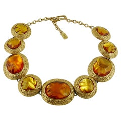 Yves Saint Laurent YSL Vintage Gilt and Resin Nugget Necklace 1980s