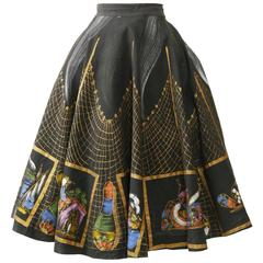1950s Vintage Handpainted Mexican Full Circle Skirt