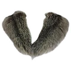 Silver fox fur draped shoulder wrap 1960s  OS