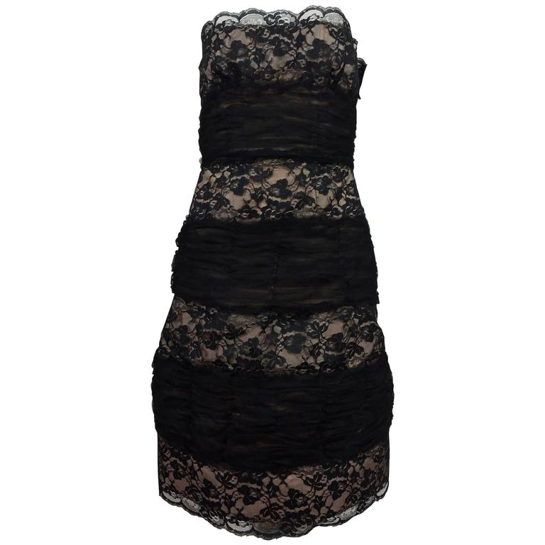 Arnold Scaasi black lace and tulle nude lined strapless cocktail dress 1980s