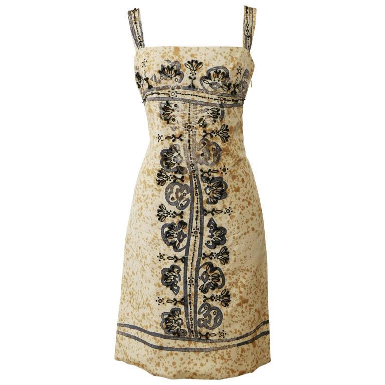 PRADA Arabesque Print Embroidered Dress