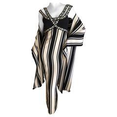Galanos Mod Jeweled Stripe Evening Dress with Fringe Shawl
