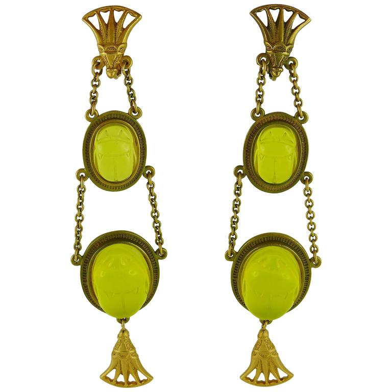Christian Dior by John Galliano Egyptian Revival Scarab Dangle Earrings 1