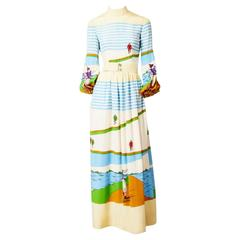 Ronald Amey Bicycle Print Silk Maxi Dress