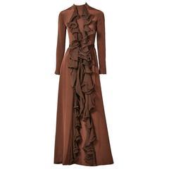 Ronald Amey Chiffon Gown with Ruffle Detail