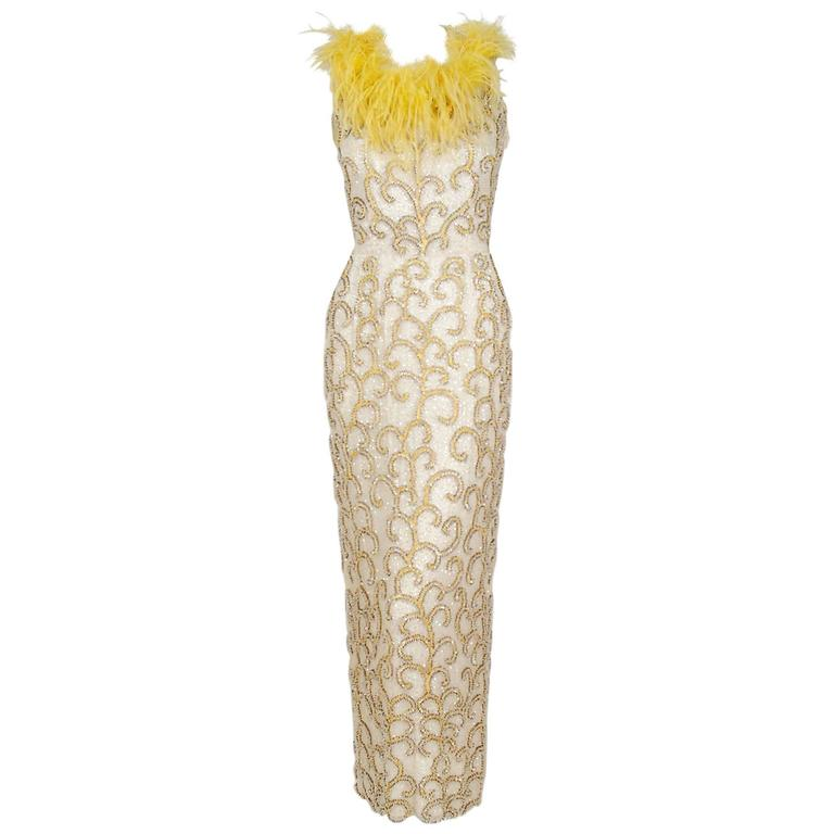1960's Ivory & Yellow Beaded Sequin Silk Ostrich-Feather Collar Hourglass Gown  1