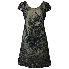1960s Pirovano Italian Couture Black Sequins Embroidered Cocktail Mod Dress
