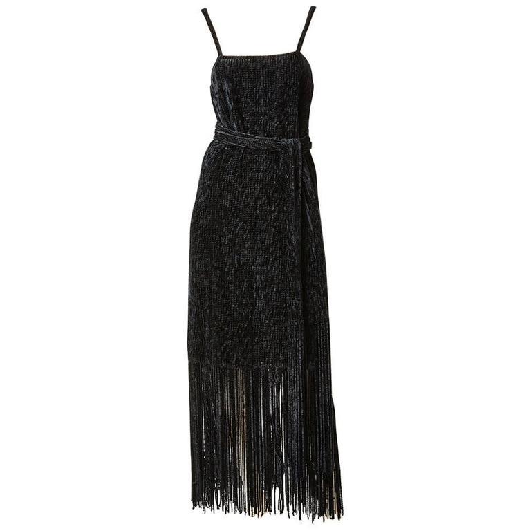 Simonetta Chenille Fringed Cocktail Dress