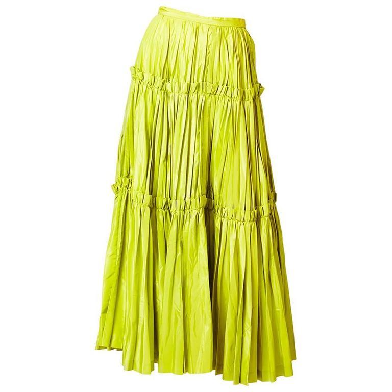 Yves Saint Laurent  Chartreuse Taffeta Gypsy Skirt 1