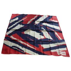 1970s Jeanne Lanvin Silk Scarf in Red, White and Blue 30.5x30""