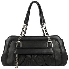 CARTIER Black Textured Leather La Dona Chain Link Satchel Bag Handbag Purse