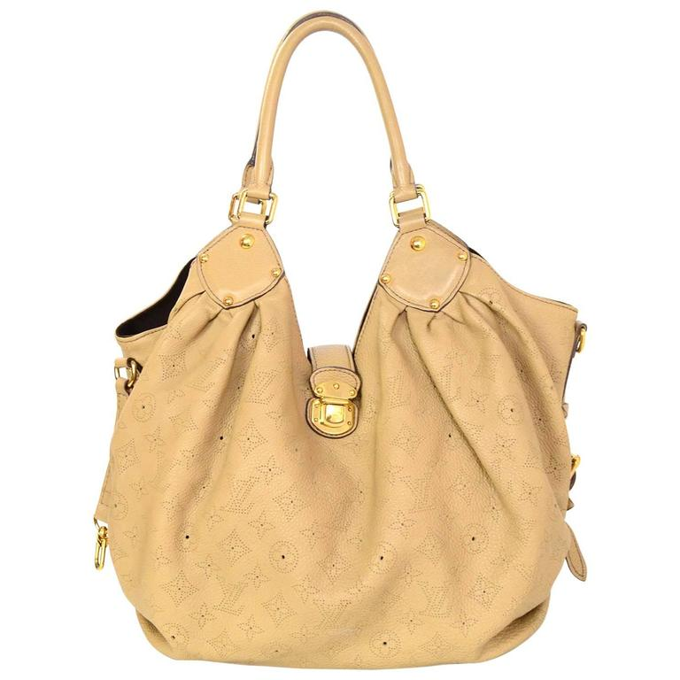 Louis Vuitton Beige Leather Perforated Monogram Mahina Large Hobo Bag Rt 4 400 For