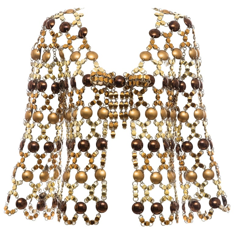 Paco Rabanne Gold & Bronze Metal Chain Mail Top, Circa 1970s For Sale