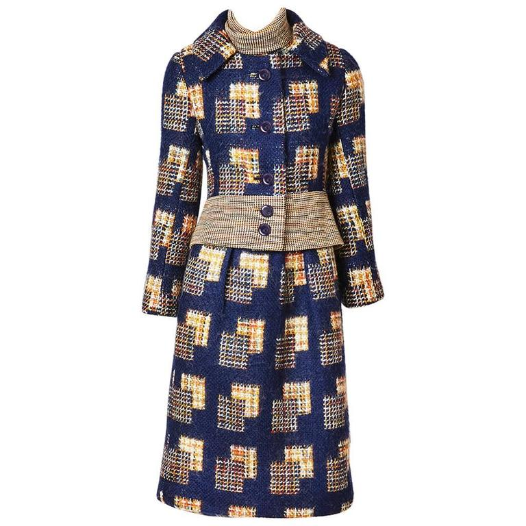 Ronald Amy Textured Wool Tweed Dress Ensemble For Sale