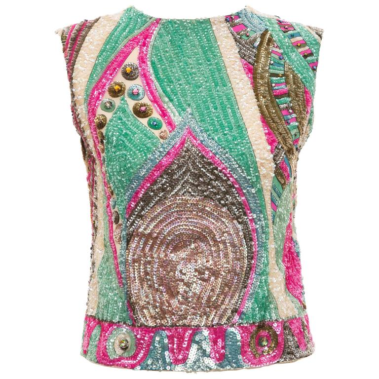 Emilio Pucci Sleeveless Silk Sequined & Prong Set Crystal Top, Circa 1960's
