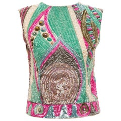 Emilio Pucci Silk Sequined & Prong Set Crystal Sleeveless Top, Circa: 1960s
