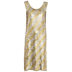 Christian Dior Marc Bohan Embroidered Gold Silver Sequin Dress, Circa 1970s