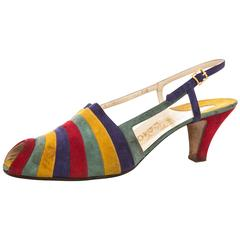 Salvatore Ferragamo Slingback Shoe With Strips Of Colored Suede, Circa 1940's