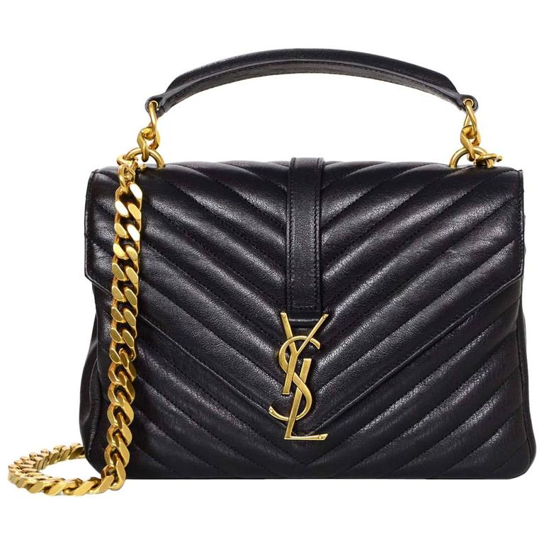 ed10b918aa56 Saint Laurent Black Leather Chevron Medium Monogram College Crossbody Bag  For Sale at 1stdibs