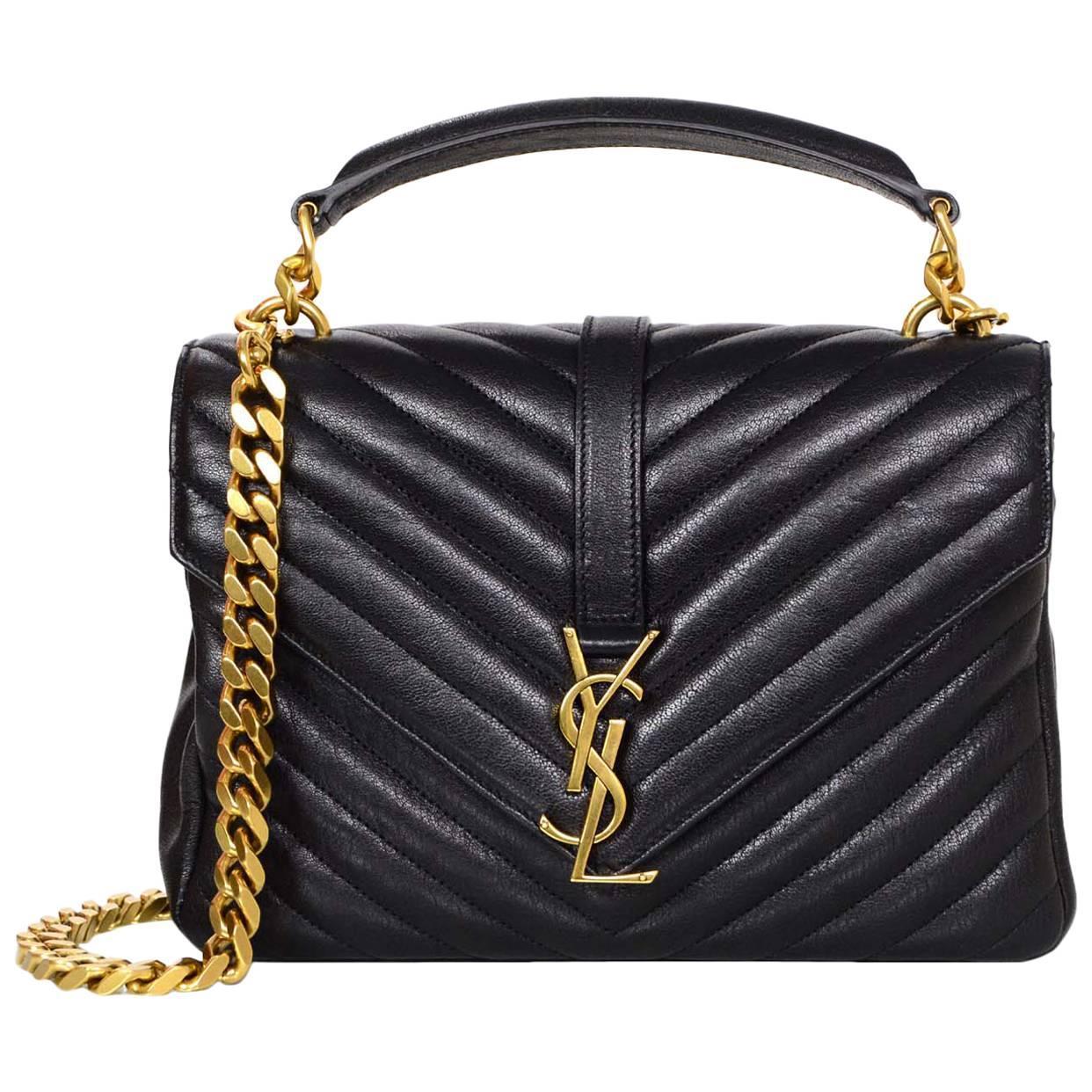 e11fc8678 Saint Laurent Black Leather Chevron Medium Monogram College Crossbody Bag  For Sale at 1stdibs