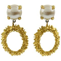 Givenchy Paris Signed Clip-on Earrings Dangling Shape Butterfly & Pearl
