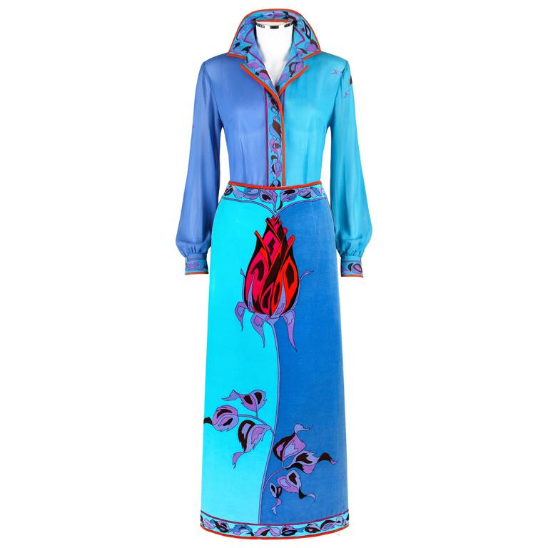 EMILIO PUCCI c.1970's Teal Blue Long Stem Rose 2 Piece Blouse Maxi Skirt Set For Sale