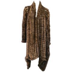 ADRIENNE LANDAU Brown Mink Fur Net Mesh High Low Open Cardigan Shawl