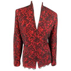 1990's ST. JOHN EVENING Size 12 Red & Black Crystal Lace Zip Jacket