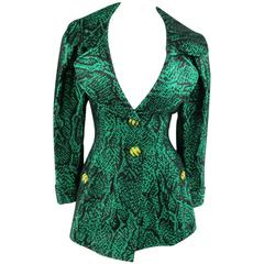 Vintage YVES SAINT LAURENT Size 6 Green Textured Python Print Gold Button Jacket