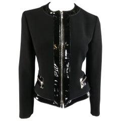 MICHAEL KORS Size 8 Black Virgin Wool & Patent Leather Zip Jacket