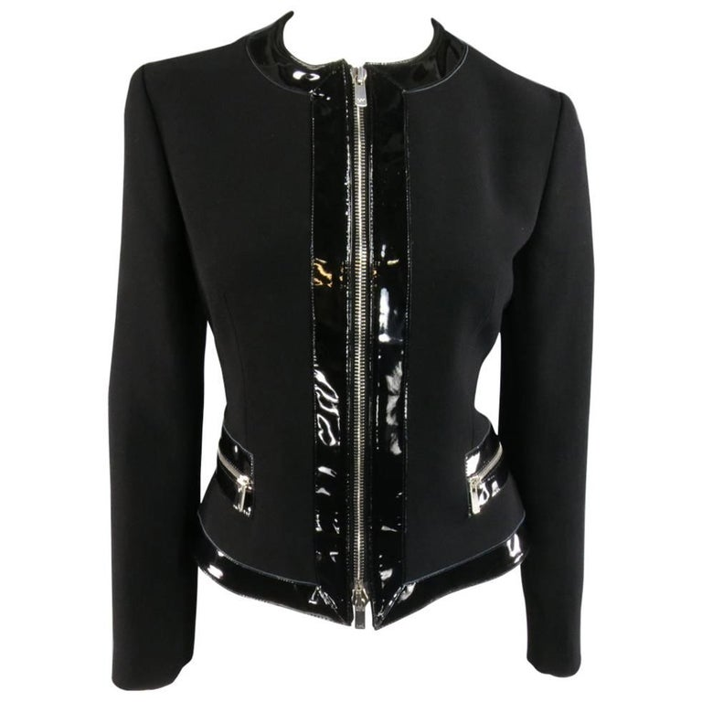 MICHAEL KORS Size 8 Black Virgin Wool & Patent Leather Zip Jacket For Sale