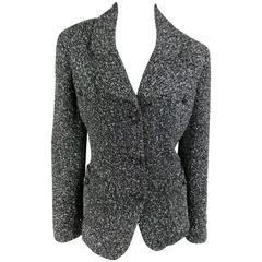 ST. JOHN CAVIAR Size 14 Black & Silver Tinsel Sparkle Knit Boucle Jacket