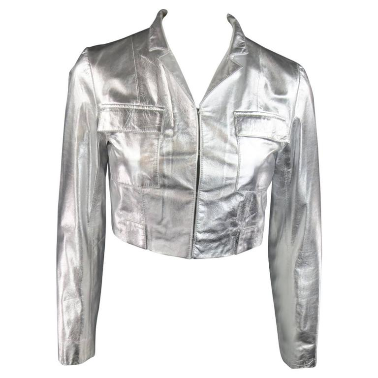 RAOUL Size S Silver Leather Cropped Pocket Fall 2012 Jacket 1