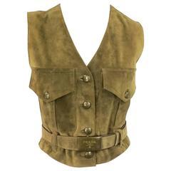 PRADA Size 4 Olive Tan Suede Cropped Military Pocket Belted Vest