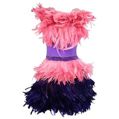 MOSCHINO Size 6 Pink & Purple Spring 2016 Feather & Velvet Cocktail Dress