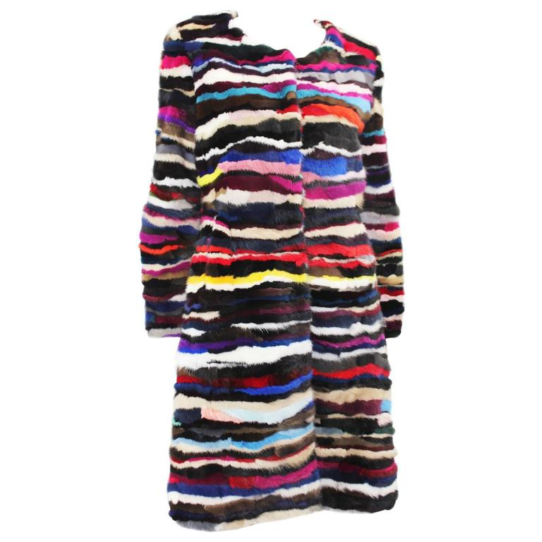Richard Meyerson Multi color pieced mink fur coat. Hot for the season!! 1