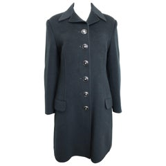 90s Gianni Versace Couture Black Wool Long Coat