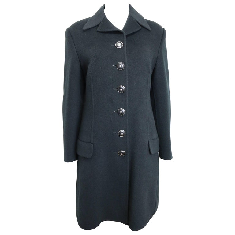 90s Gianni Versace Couture Black Wool Long Coat For Sale