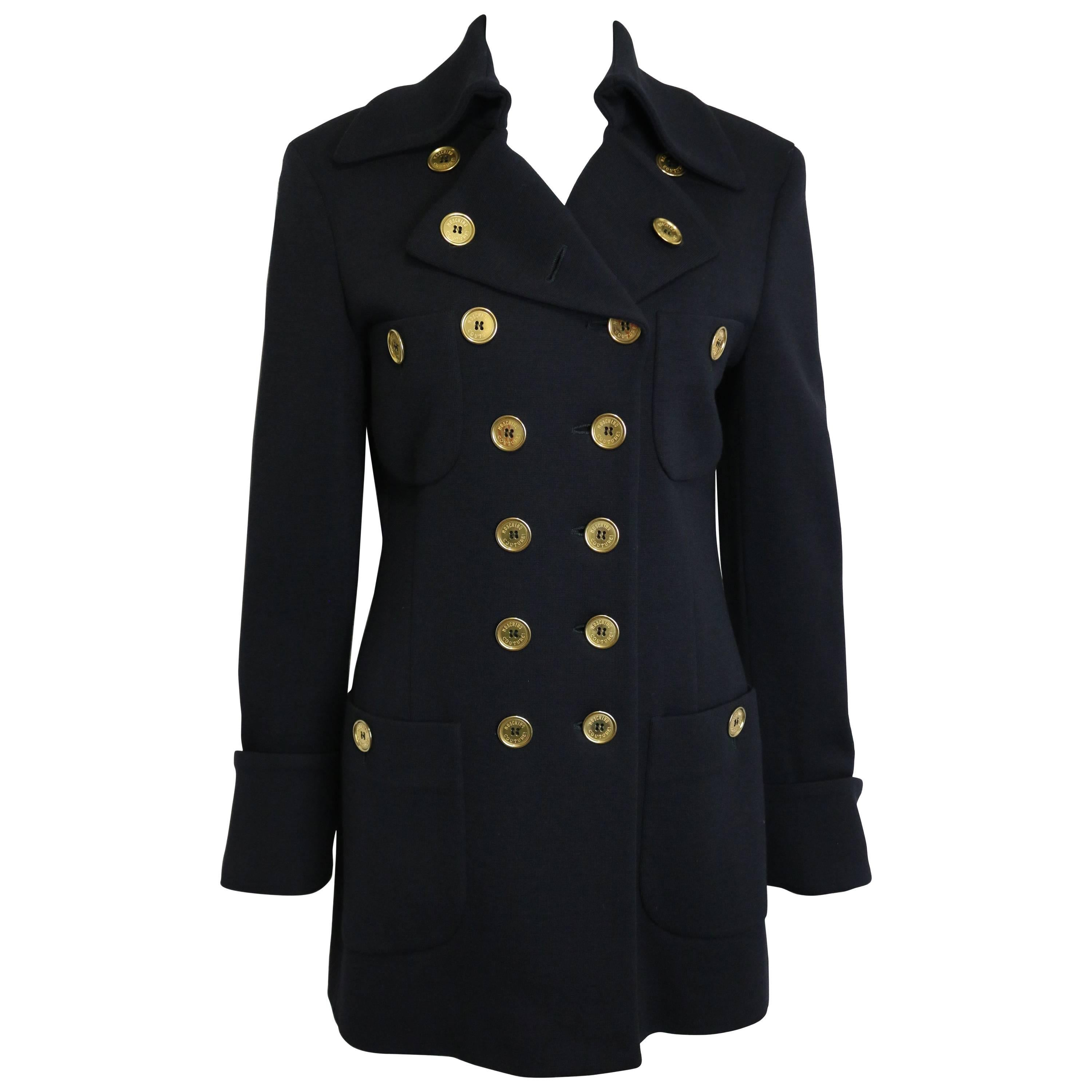 Vintage 90s Moschino Couture Black Wool Gold Buttons Double Breasted Jacket
