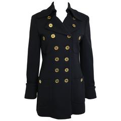 Moschino Couture Black Wool Gold Buttons Double Breasted Jacket