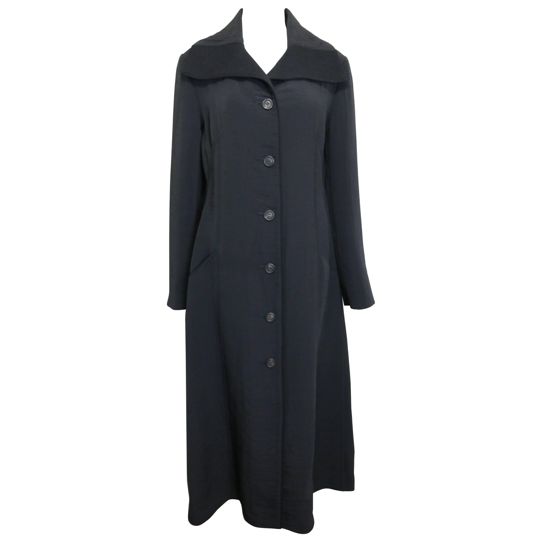 Vintage 90s Issey Miyake Black Maxi Coat