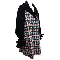 Christian Lacroix Black Velvet Colours Houndstooth Tweed Oversized Long Coat