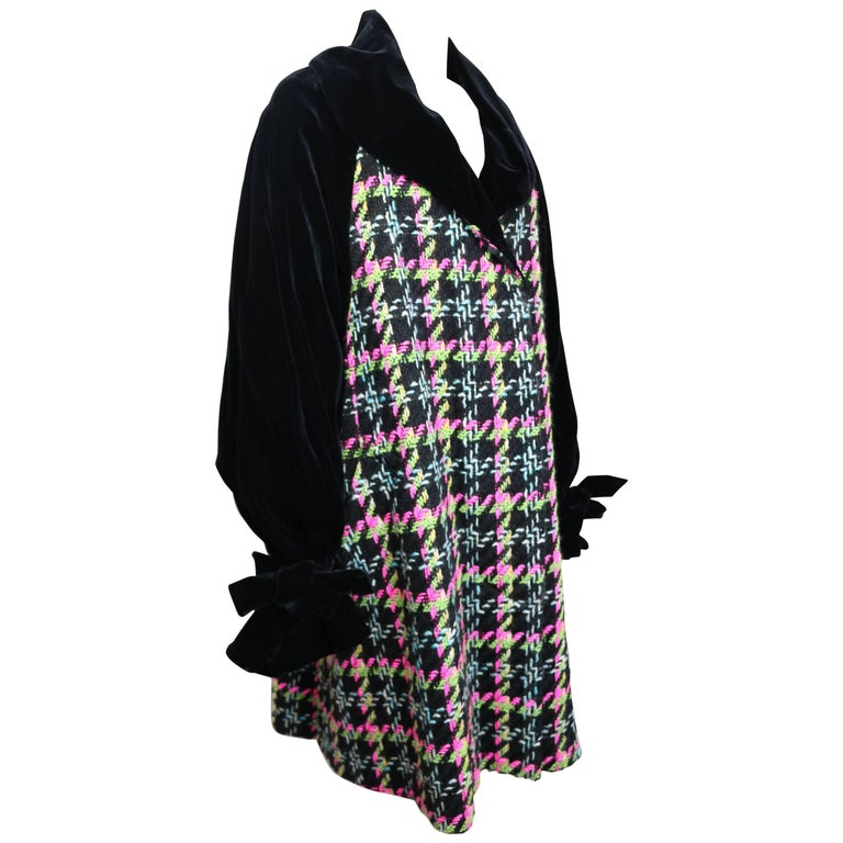 Christian Lacroix Black Velvet Colours Houndstooth Tweed Oversized Long Coat For Sale