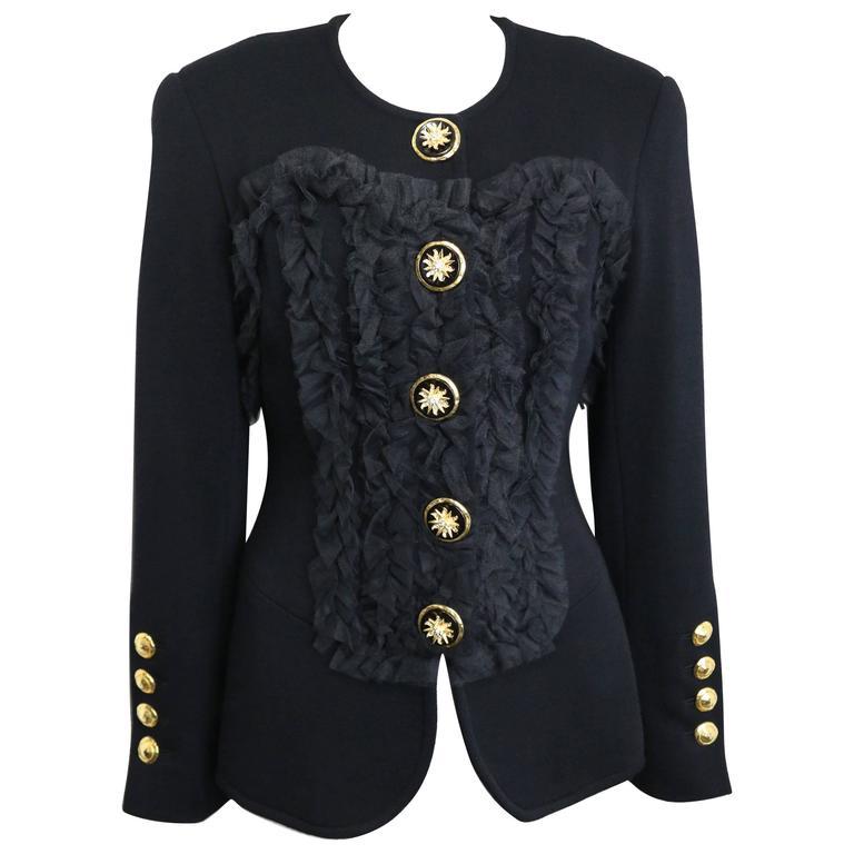 Gemma Kahng Black Wool Shawl Jacket