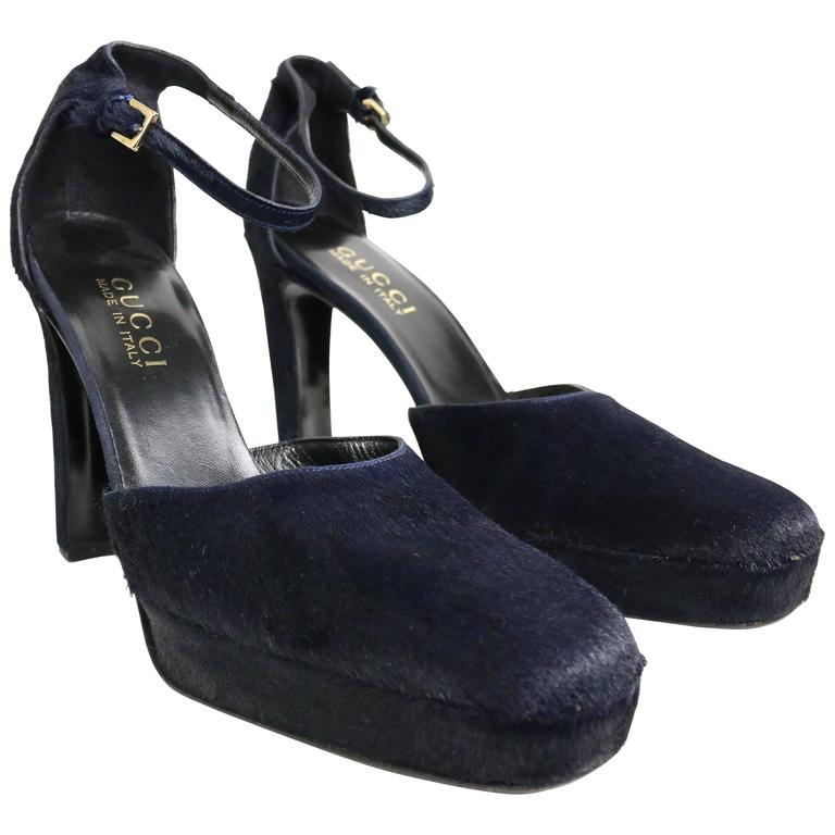 Gucci by Tom Ford Navy Horse-Bit Strap Pumps