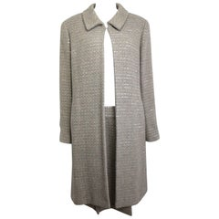 Chanel Grey/Camel Tweed Coat/Skirt Ensemble with Gold and Silver Sequins