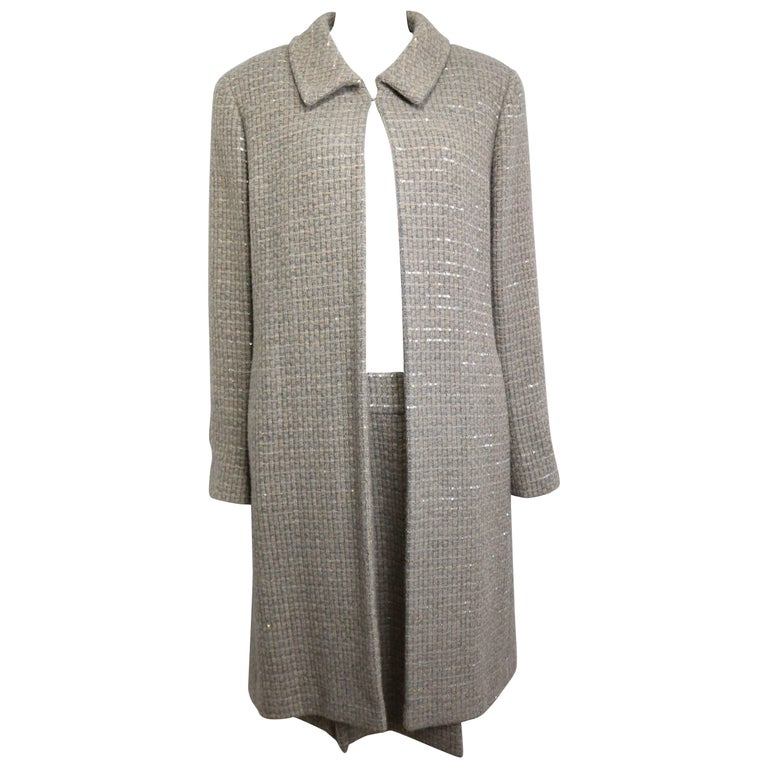 Chanel Grey/Camel Tweed Coat/Skirt Ensemble with Gold and Silver Sequins  For Sale
