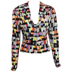 Chanel Silk Colour Blocked Cropped Zipper Blouse